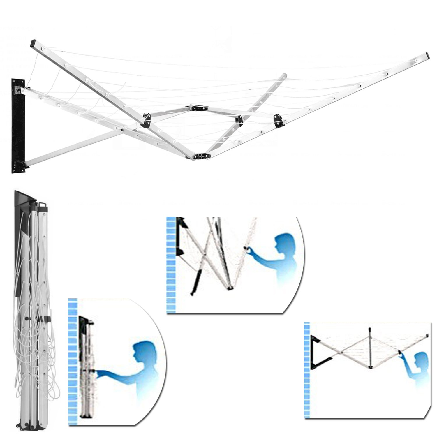 FunkyBuys/® Deluxe 5 Arm Aluminium 26M Deluxe Wall Mounted Rotary Airer Clothes Line Dryer Wall Fix