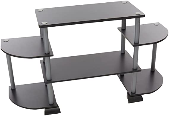 Review Furinno 12258BK/GY Turn-N-Tube Rounded Corner TV Entertainment Center, Black/Grey