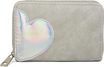 styleBREAKER minimonedero con aplicación de corazón metálico Iridiscente, Cremallera, Cartera, señora 02040109, Color:Gris Claro: Amazon.es: Equipaje