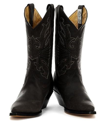 new style 5412a 94640 GRINDERS Buffalo Herren Schwarz Leder Cowboy Stiefel ...