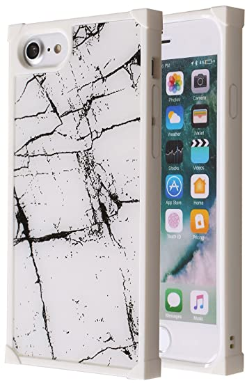 quality design 0c7ab 92467 Amazon.com: Marble Square iPhone 8 Case, Glossy Mirror Shockproof ...