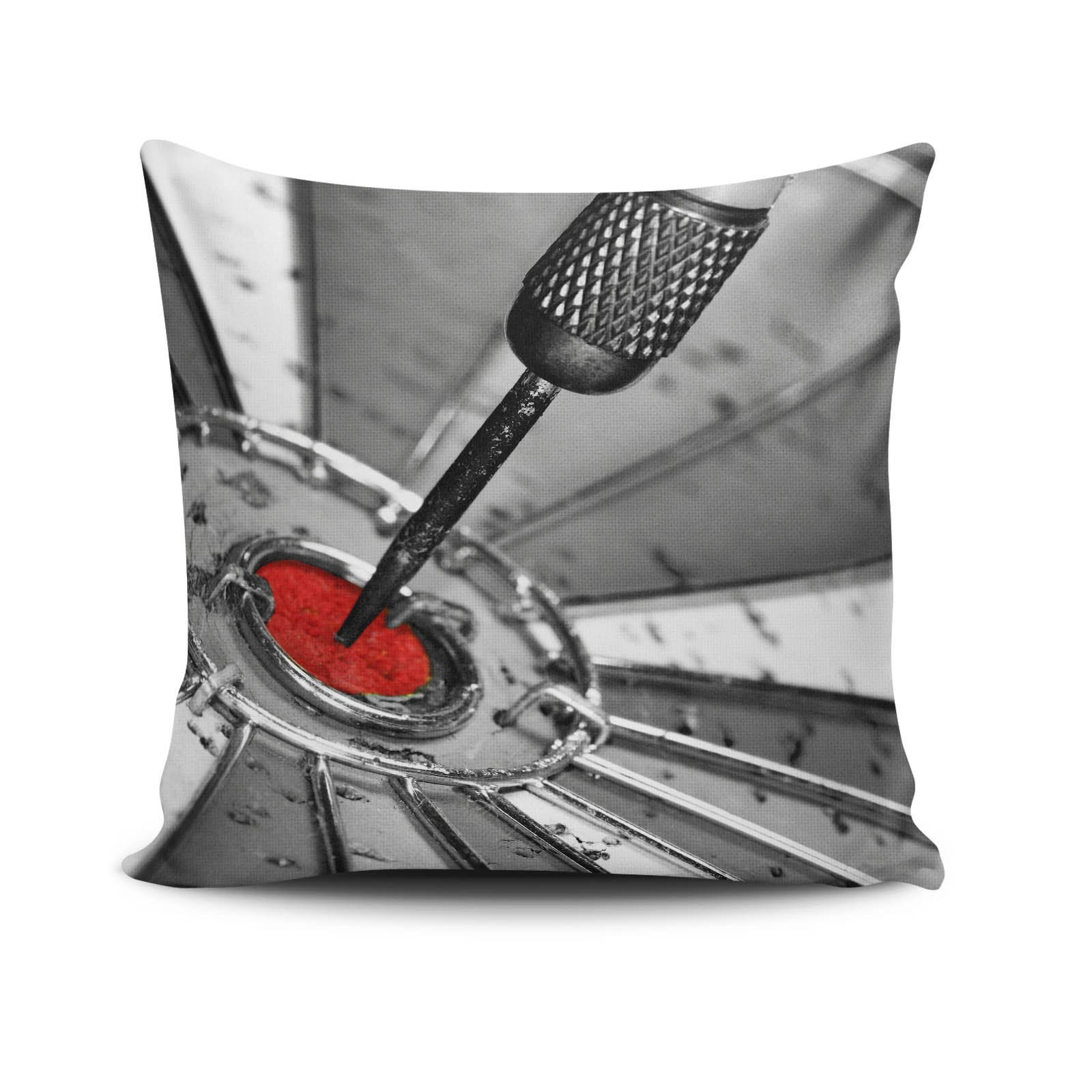 Premium Decorative Cushion Throw Pillow Hypoallergenic Stuffer Silicone Filling (17.5'' x 17.5'') | Dart Arrow Incidence Score Target Bingo On The Nose Home 50% Cotton 50% Polyester Full with Silicone F by LaModaHome
