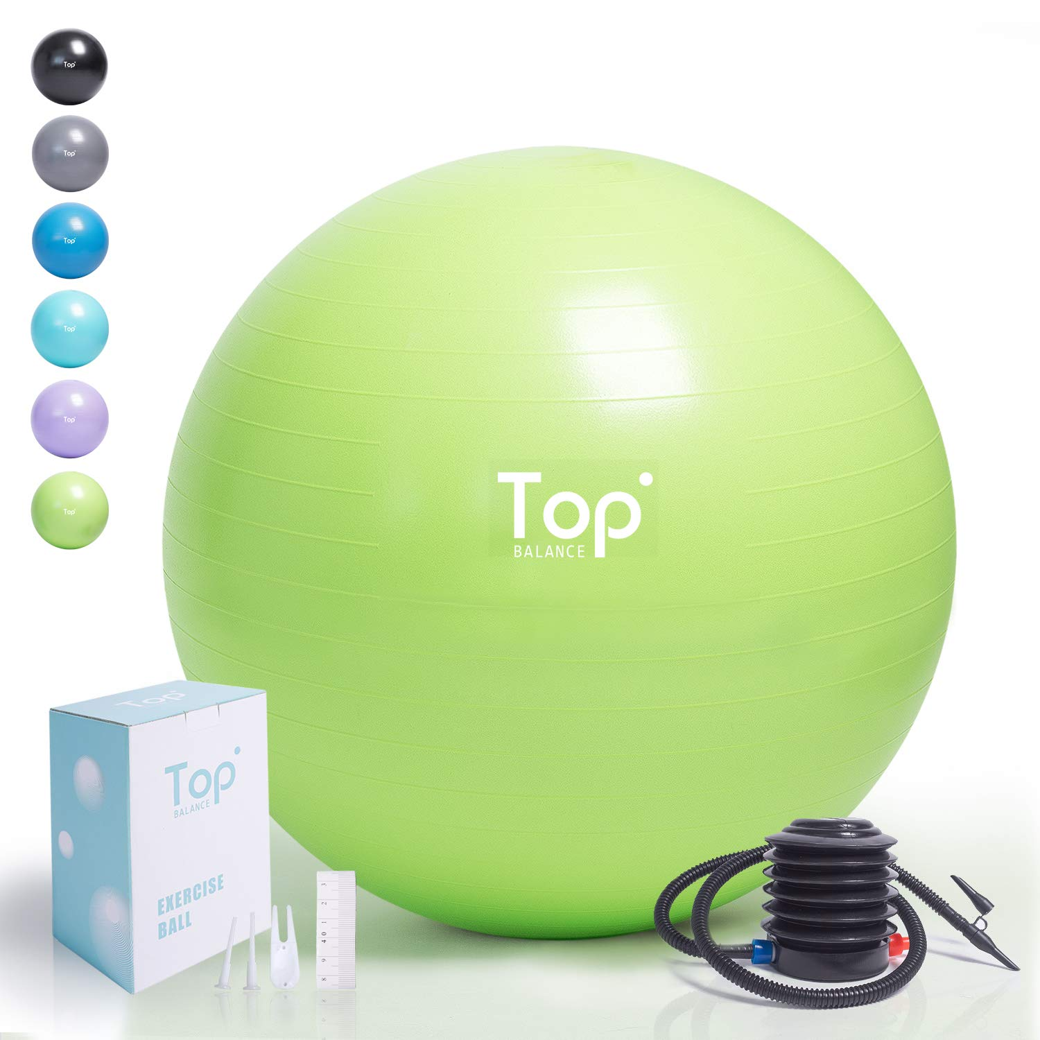 Top Balance Anti-Burst Exercise Ball (Green, 65cm), Extra Thick Construction Supports up to 1000 lbs, Used for Fitness/Yoga/Ball Chair/Birthing with Easy to Inflate Foot Pump (Office & Home & Gym) by Top Balance