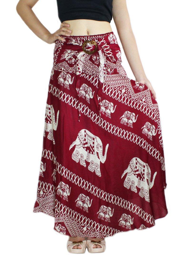 Banjamath® Women's Long Bohemian Style Gypsy Boho Hippie Skirt (M, Elephant Red)