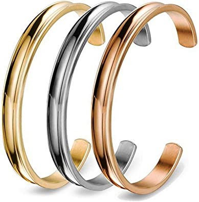 Amazon Com Comisan Sister Cuff Of 3 Bridesmaid Bracelet Gifts Grooved Cuff Bangle 3 Color Set Jewelry Gift For Women Or Girls Jewelry