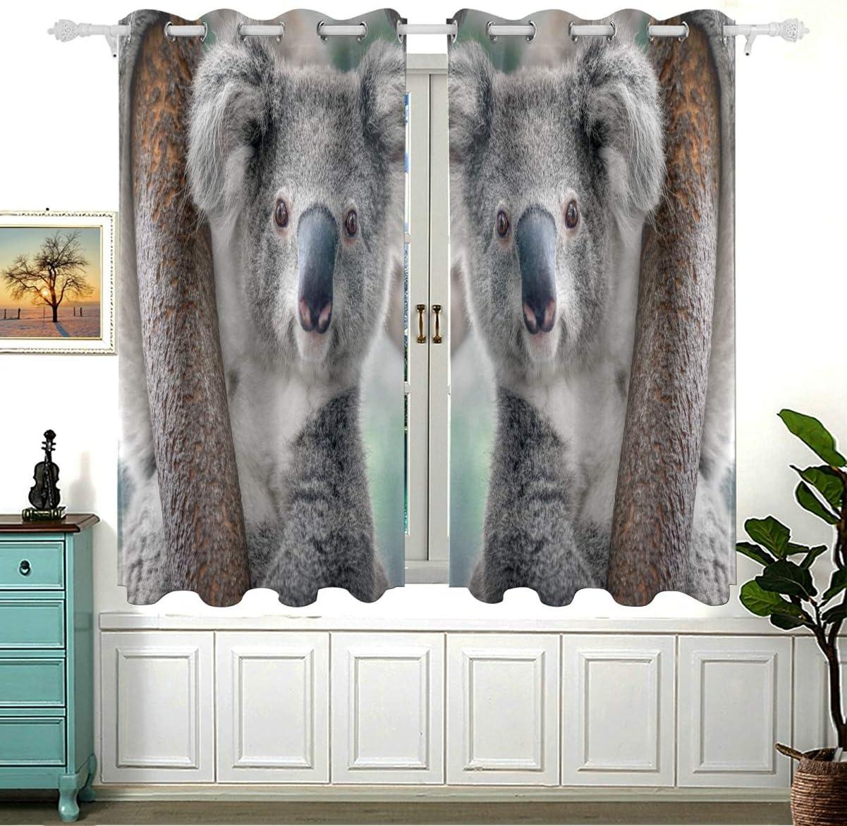 Lovely Koala On Tree para dormitorio, cortinas al aire libre, cortinas deslizantes para dormitorio, cortinas de cocina con aislamiento térmico, ojales opacos, juego de 2 paneles (54 x 55 pulgadas)