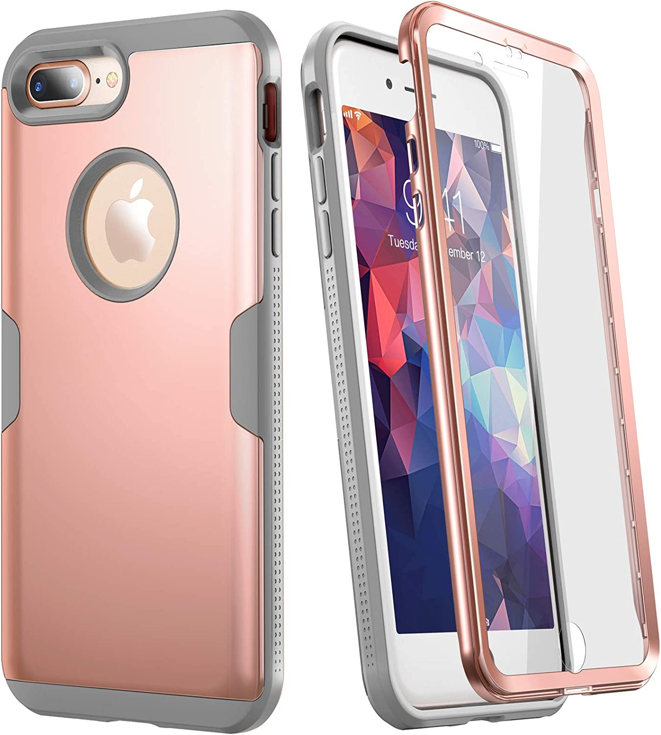 YOUMAKER Designed for iPhone 8 Plus Case&iPhone 7 Plus Case, Full Body Rugged with Built-in Screen Protector Heavy Duty Protection Slim Fit Shockproof Cover for iPhone 8 Plus (2017) 5.5 Inch-Rose/Gray