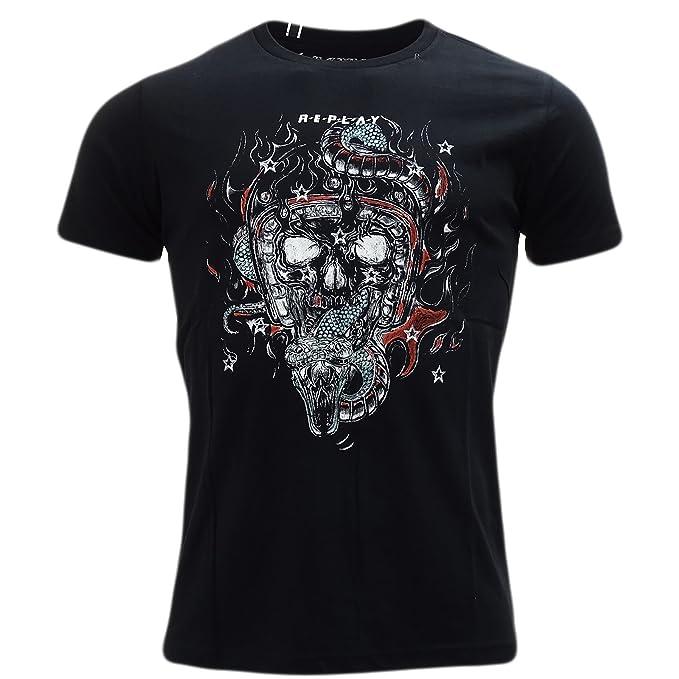 f66e1769 Replay Skull and Snake T-Shirt - 3542 Black XXL: Amazon.co.uk: Clothing