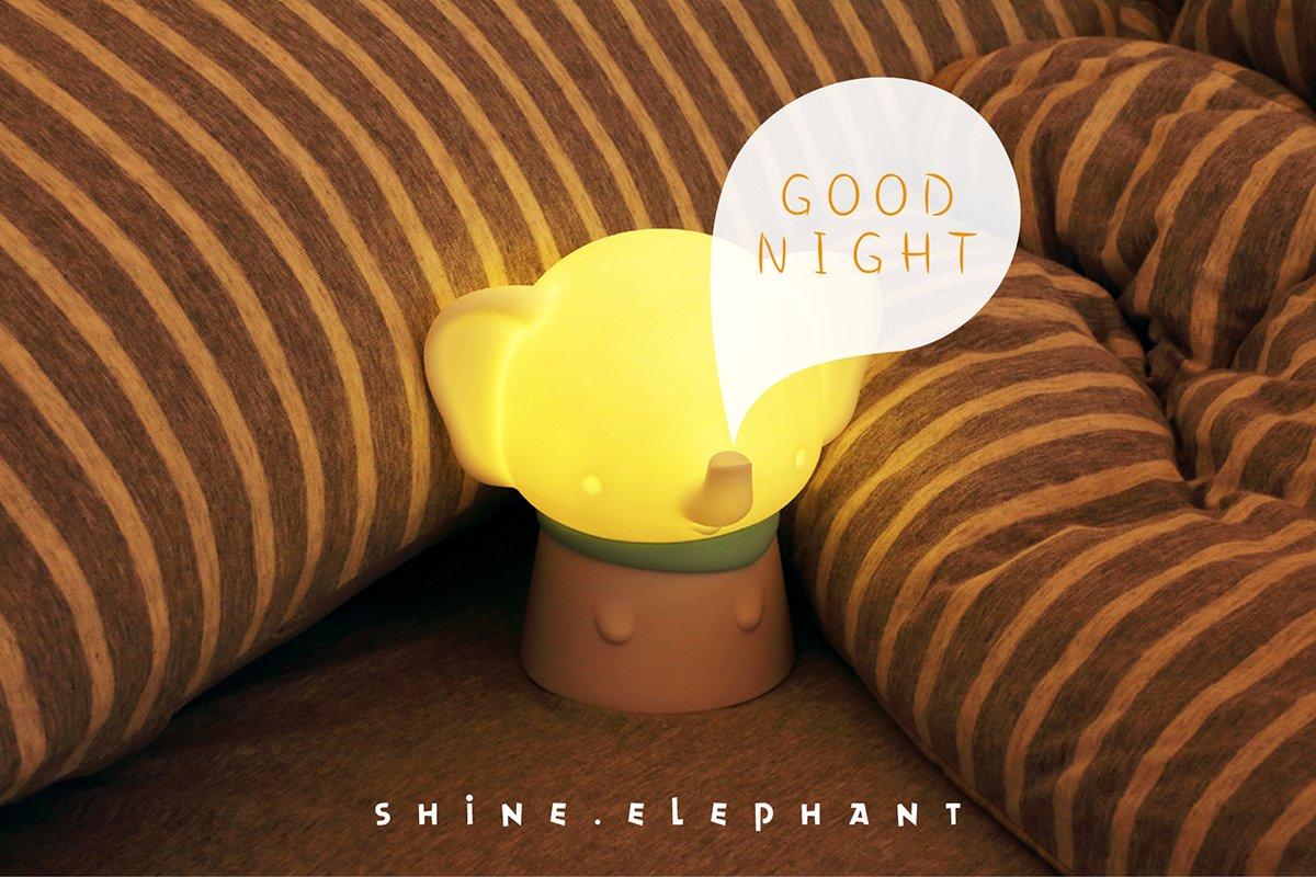 Corneria Cute Elephant常夜灯、暖かいホワイトLEDセンサーライト – USB充電式 B07D2B5MDP 14305