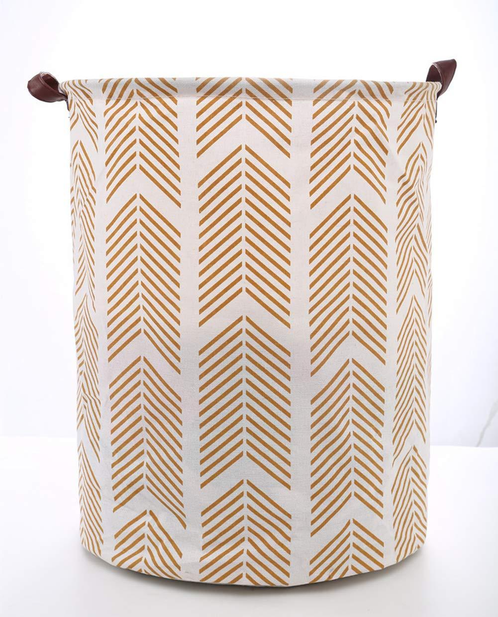 "SuperiMan Gold Pattern Cotton Storage Basket with Leather Handles,Laundry Basket,Toys Organizer Basket 15.7""19.7"" (Gold Arrow)"