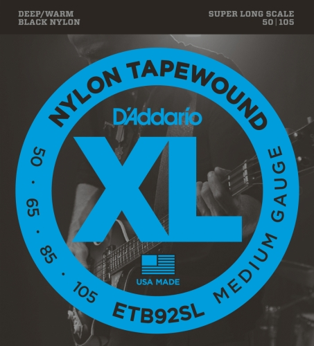 D'Addario ETB92SL Tapewound Bass Guitar Strings, Medium, 50-105, Super Long Scale ()