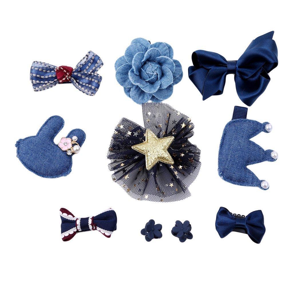 prelikes 10 Pcs Girl Bowknot Flower Hair Clip Multi-Style Bow Hairpin Ribbon Xmas Gift BAOQAQU2581515DP9IR