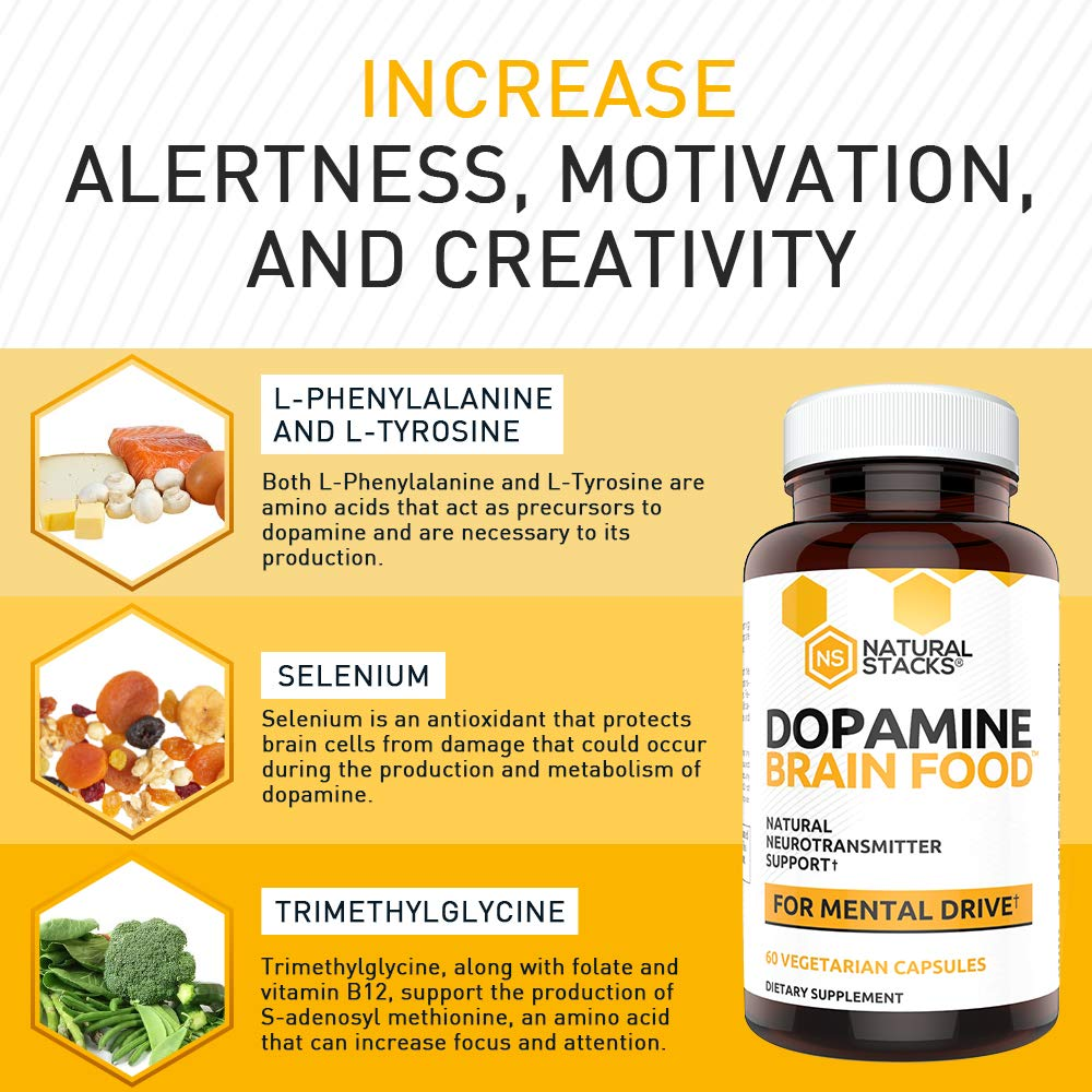 Natural Stacks: Dopamine - Brain Food Supplement - 30 Day Supply -  Neurotransmitter Support -