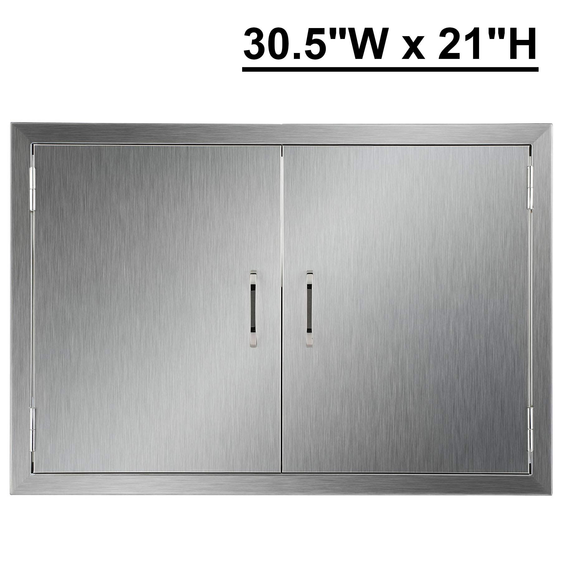 CO-Z Outdoor Kitchen Doors, 304 Brushed Stainless Steel Double BBQ Access Doors for Outdoor Kitchen, Commercial BBQ Island, Grilling Station, Outside Cabinet, Barbeque Grill, Built-in (30.5''W x 21''H)