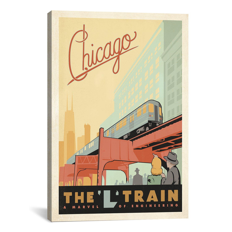 Amazon.com: iCanvasART The L Train-Chicago, Illinois Canvas Art ...