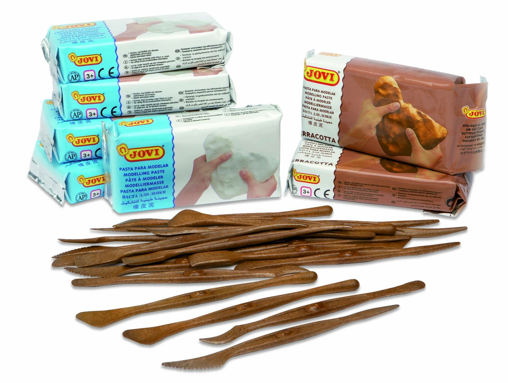 Jovi 80 Air Dry Modeling Clay Classpack; 5 White and 2 Terracotta 1.1Lb Bricks with 20 Sculpting Tools Non-Staining, 7.7 lb., Assorted