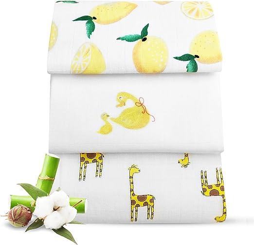 Manta para bebé – 70% bambú 30% algodón orgánico – Regalos para Baby Shower – Paquete de 3 pañales de Muselina de Doble Capa – Babydom: Amazon.es: Hogar