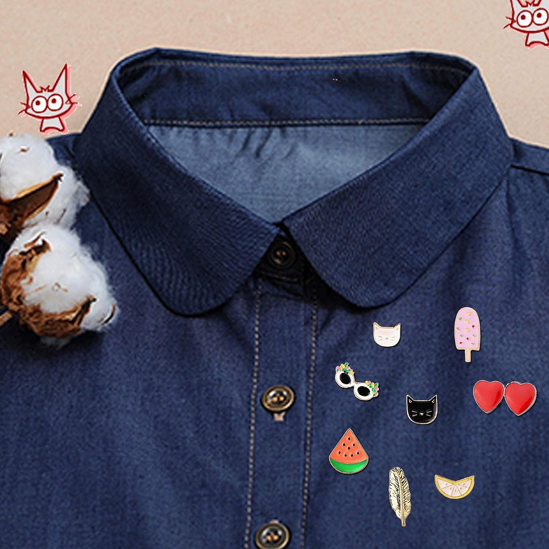 Thunaraz Brooch Pins Sets Cute Enamel Cartoon Lapel Pins Animal Badge for Women Girls Children for Clothing Bag Decor