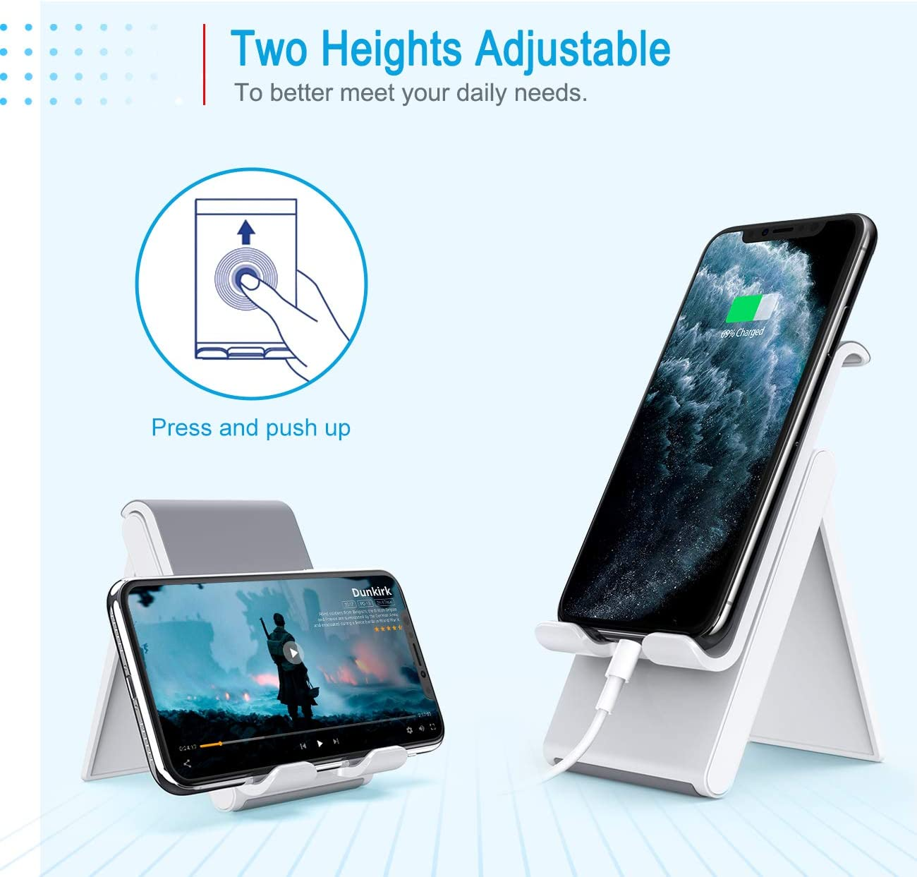Lamicall Adjustable Cell Phone Stand Desktop Charging Dock Compatible with Phone 11 Pro XS Max XR X 8 7 6S Plus Samsung Galaxy S10 S9 S8 Smartphones Foldable Portable Holder Cradle for Desk Black