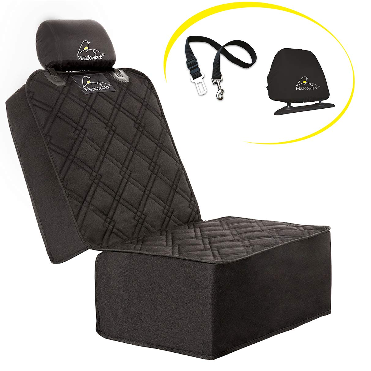 Meadowlark Car Seat Cover for Dogs. Premium Extra Thick Quilted Full Predection Front Seat Predector,Side Flaps, Waterproof, Durable, Nonslip Design, Free Bonus- Pet Seat Belt & Headrest Predector