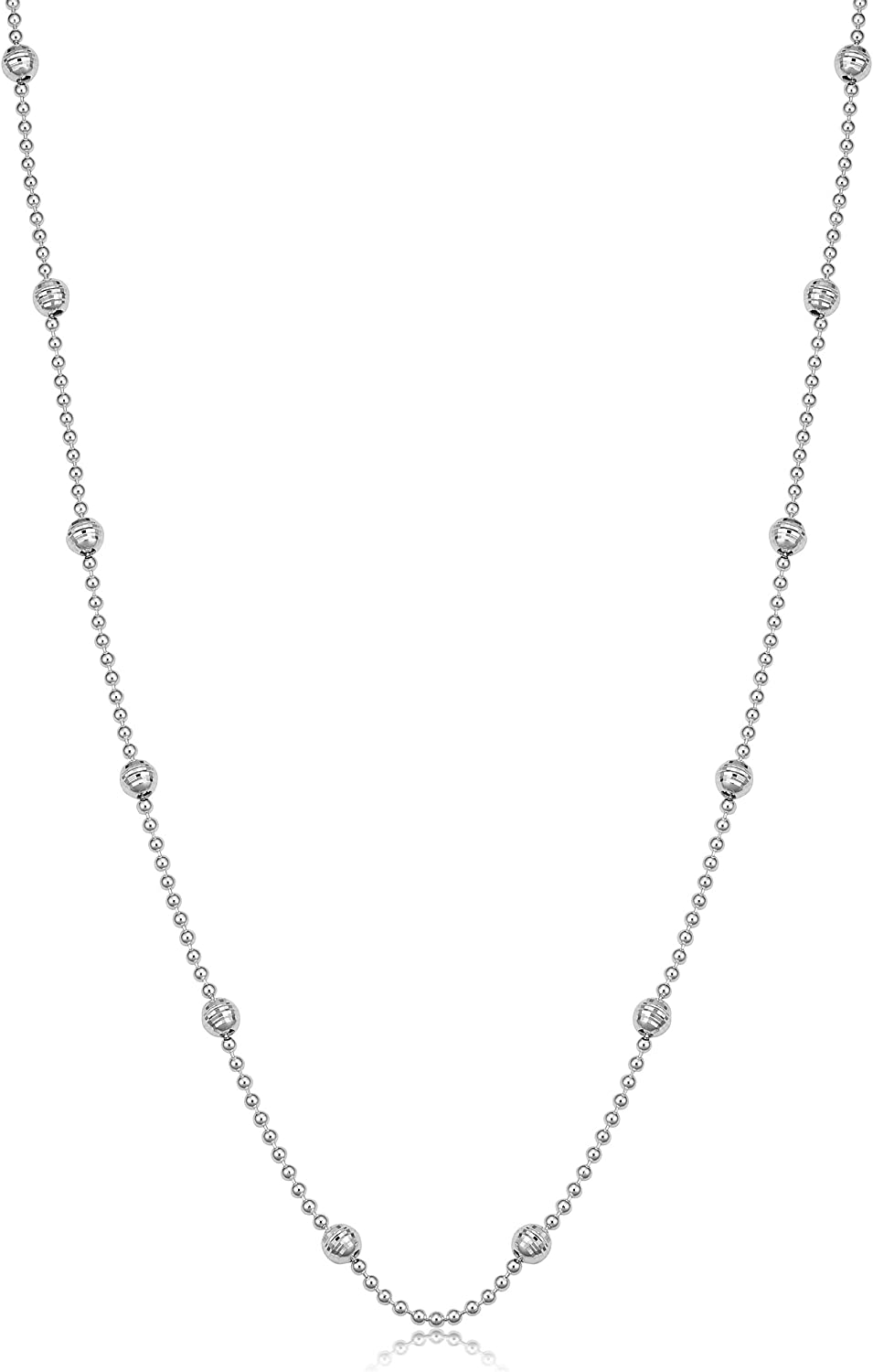 16, 18, 20, 22, 24, 30 or 36 inch Kooljewelry Sterling Silver 1.5 mm Ball and Bead Chain Necklace
