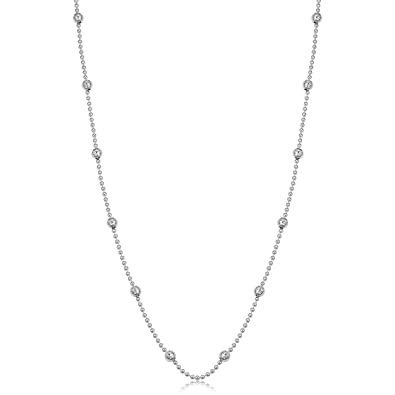 abae94e145 Kooljewelry Sterling Silver Bead and Diamond-Cut Ball Station Necklace (16  inch)