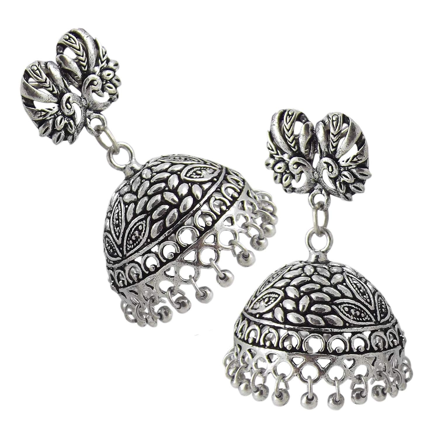 9blings Tribal Collection Silver Oxidized Peacock Jhumka Earrings For Womens//Girls