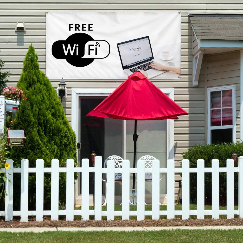 Vinyl Banner Multiple Sizes Free Wi-Fi Business C Business Outdoor Weatherproof Industrial Yard Signs White 10 Grommets 60x144Inches