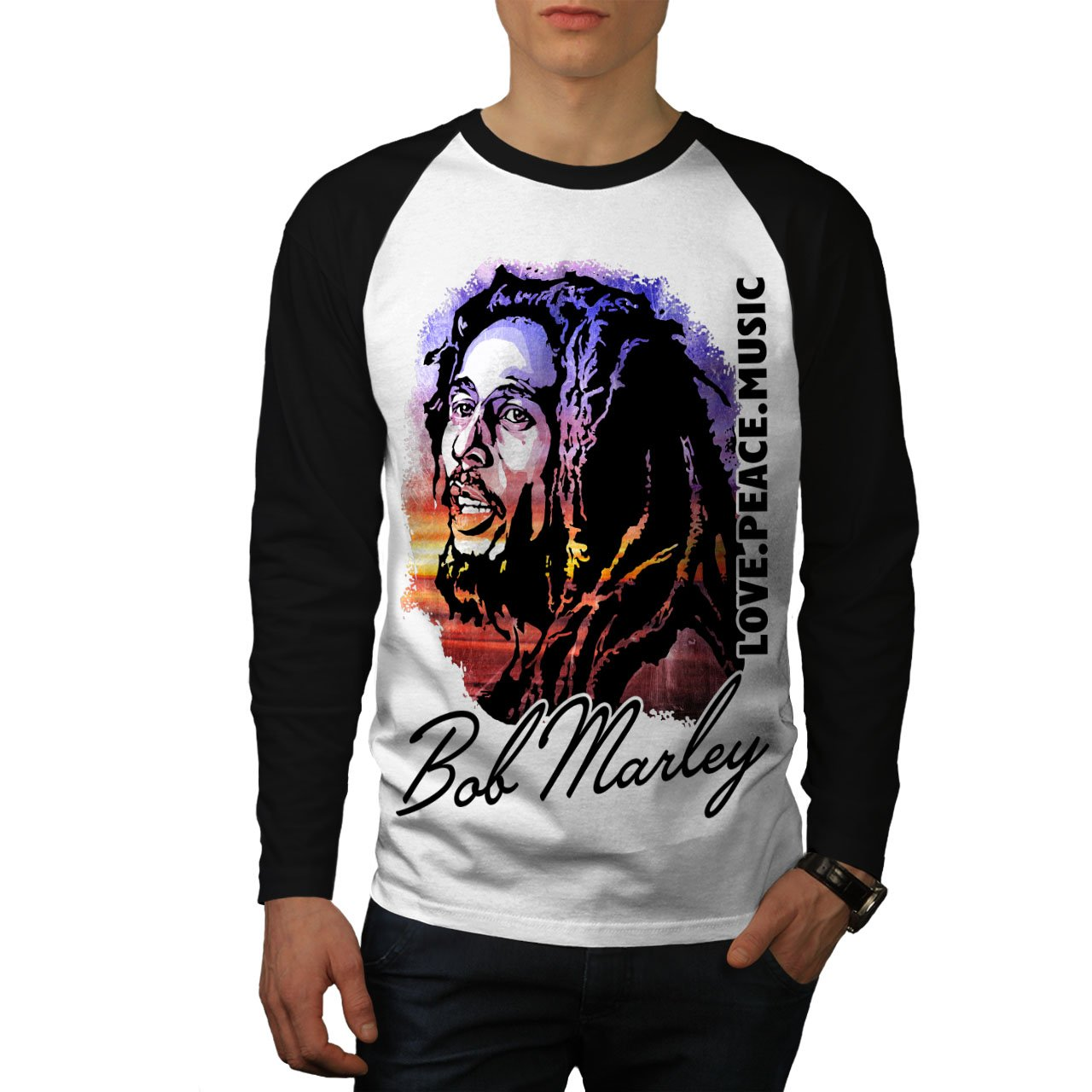 Wellcoda Bob Marley Love Celebrity Mens Baseball Long Sleeve Shirt, Be Top Tee