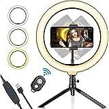 "Luz de Anillo LED para selfie de 10,2"",Salandens Trípode Stand Control Remoto Bluetooth Soporte para Teléfono, 3 Modos de Luz"