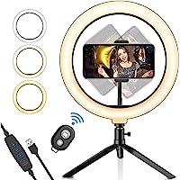 "Luz de Anillo LED para selfie de 10,2"",Salandens Trípode Stand Control Remoto Bluetooth Soporte para Teléfono, 3 Modos…"