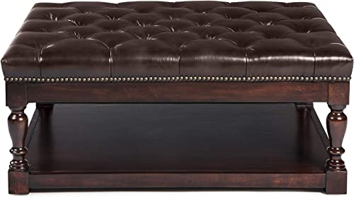 Lea Unlimited Clarence Tufted Shelf Cocktail Ottoman