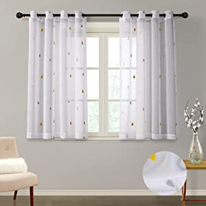 MYSKY HOME Gery Sheer Curtains 63 Inches Long with Yellow Rain Pattern 2 Panels Embroidered Grommet Voile Panel Curtains Windows Treatment for Living Room Nuresry Bedroom Patio (52