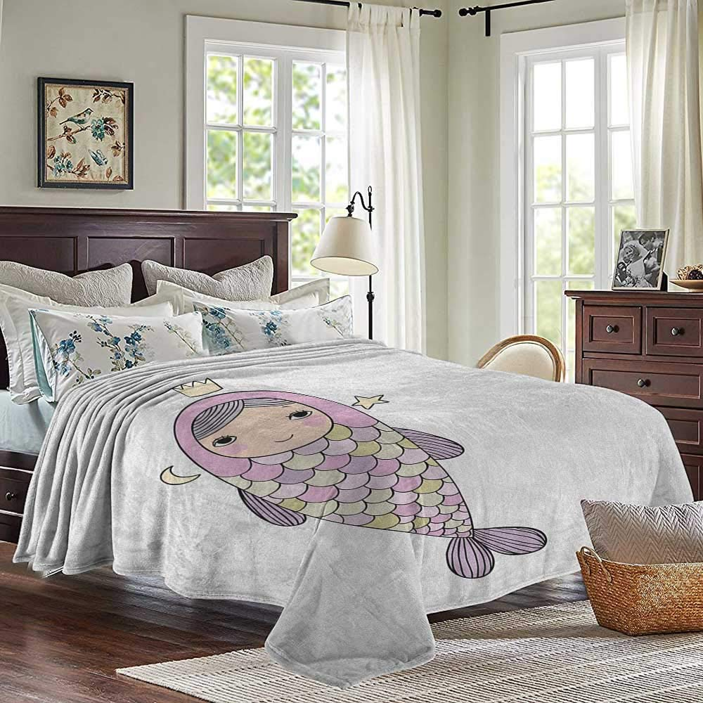 XavieraDoherty Cool Blanket,Mermaid,Baby Mermaid Sleeping on Top Giant Fish Happy Best Friends Kids Nursery Theme,Purple Teal,300GSM,Super Soft and Warm,Durable Throw Blanket 30x40