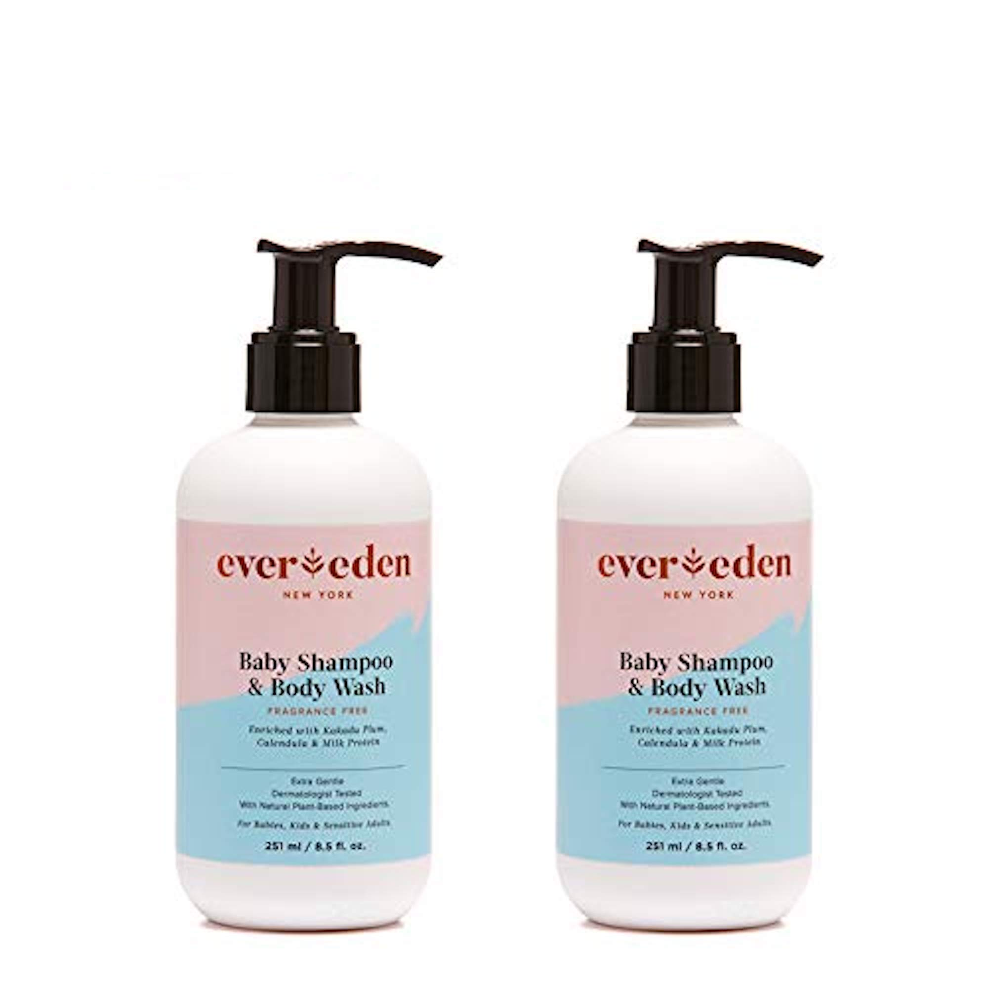 Evereden Baby Shampoo & Baby Wash - Fragrance Free Baby Soap - Tear Free, Shampoo with Natural, Organic and Plant-Based Ingredients: Avocado Oil & Coconut Oil - Perfect Baby Shower Gifts (2 Pack) by Evereden