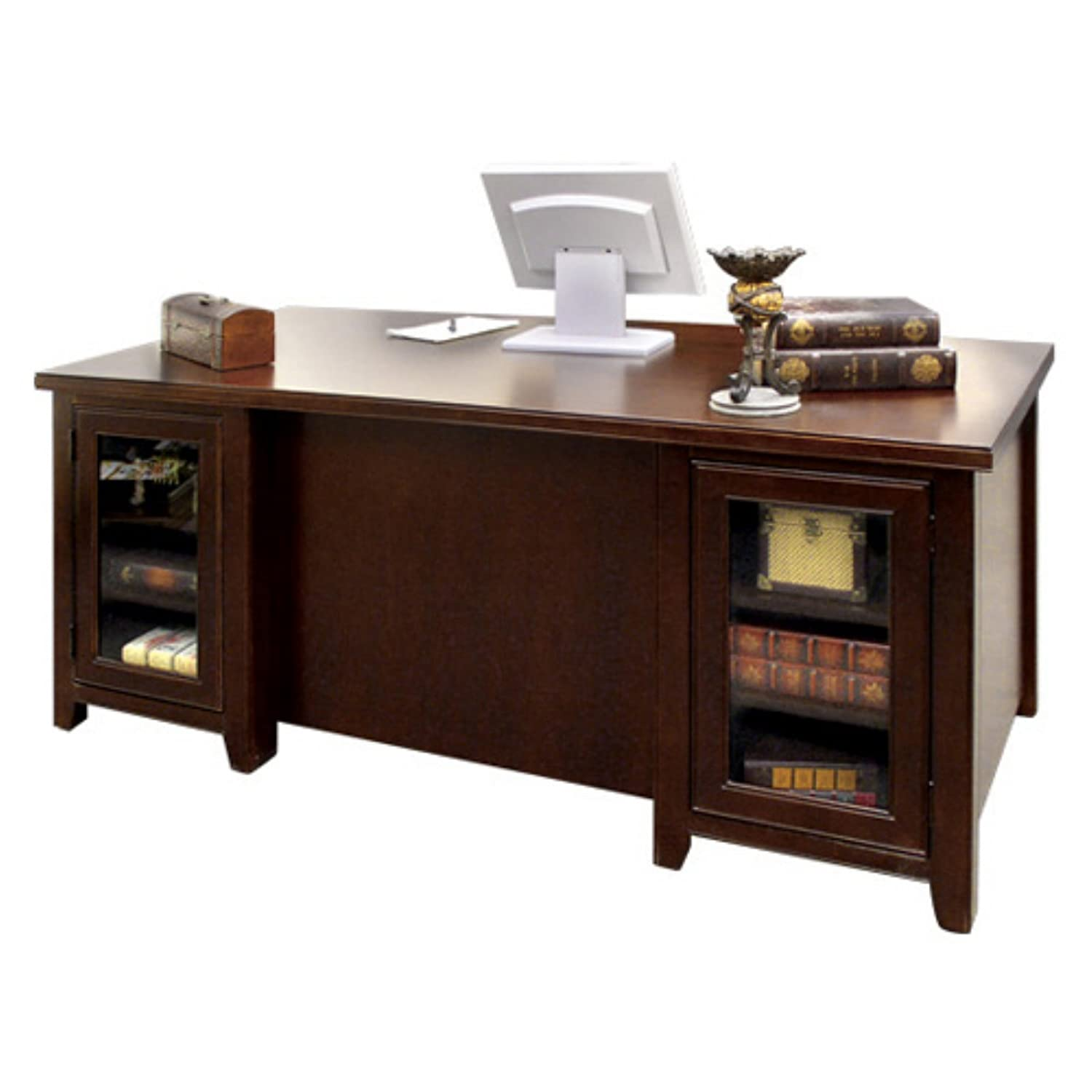 Amazon.com: Kathy Ireland Home By Martin Tribeca Loft Cherry Double  Pedestal Executive Desk   Fully Assembled: Kitchen U0026 Dining