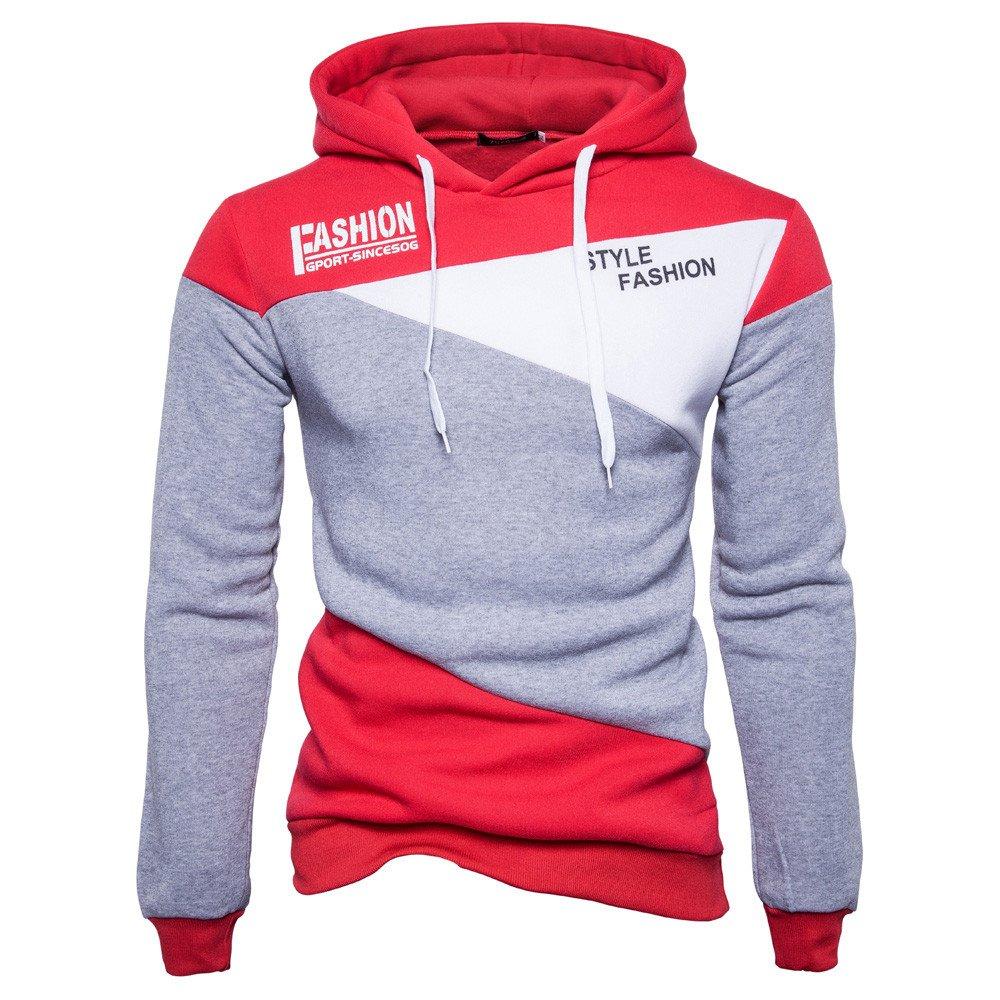 REYO Men's Jackets Casual Sale, Mens' Print Letter Patchwork Hoodie Hooded Sweatshirt weatshirt Tops Jacket Coat Outwear
