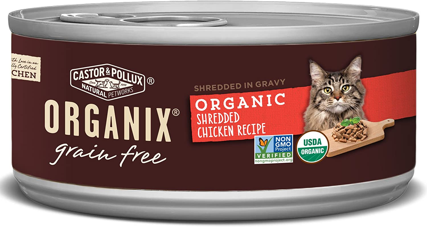 Castor & Pollux Organix Grain Free Organic Shredded Chicken Recipe in Gravy All Life Stages Canned Cat Food, (24) 5.5 oz Cans