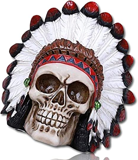 Skull Carved Wood Skull Human Skull Realistic Feather Head Dress Indian Style