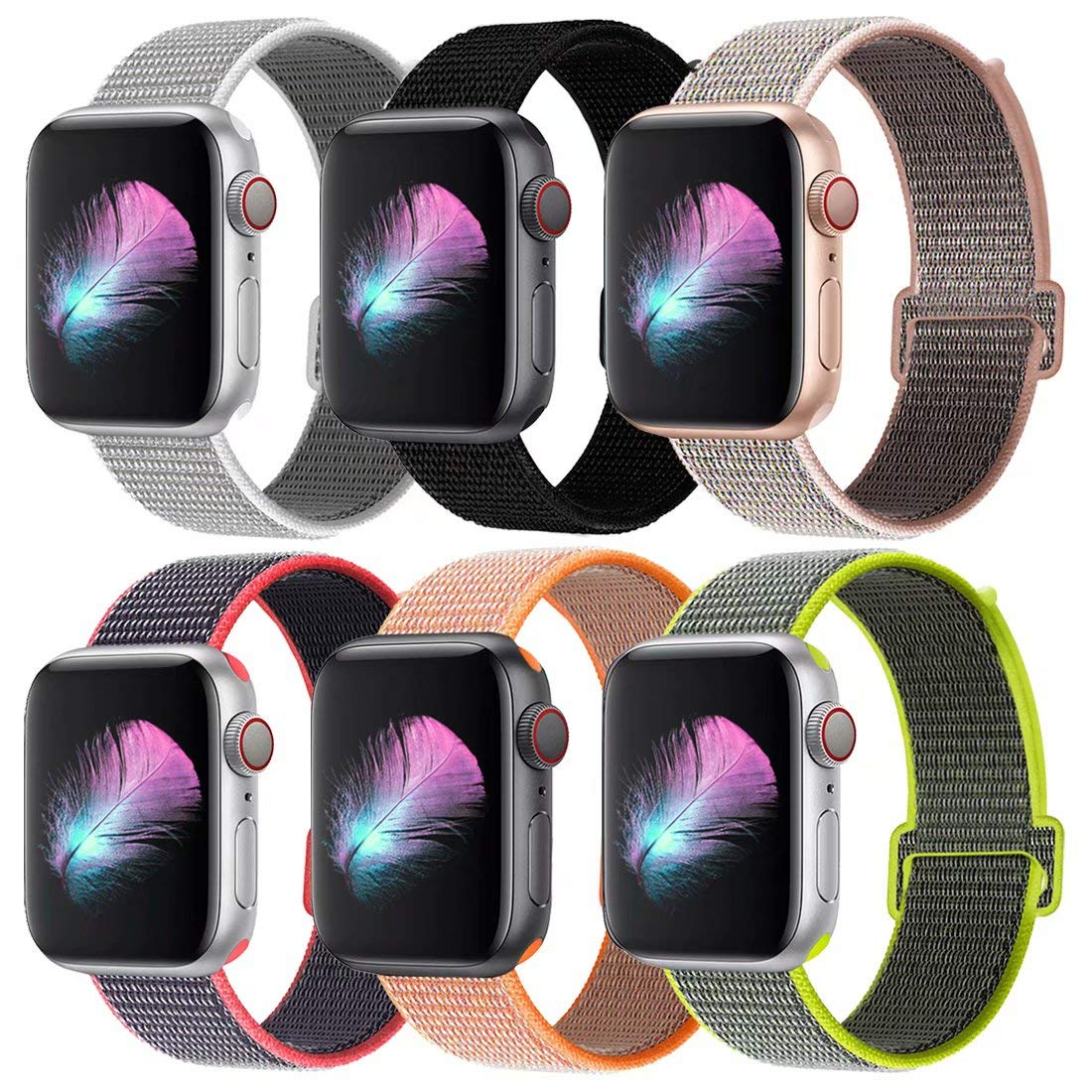 HILIMNY Compatible for Apple Watch Band 38mm 40mm, New Nylon Sport Loop, Adjustable Closure Wrist Strap, Replacement Band Compatible for iWatch Series 4 3 2 1(38mm 40mm, Muticolor)