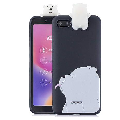 Funluna Funda Xiaomi Redmi 6A, 3D Oso Patrón Ultra Delgado TPU Cover Suave Silicona Carcasa Gel Anti-Rasguño Protectora Espalda Bumper Case para ...