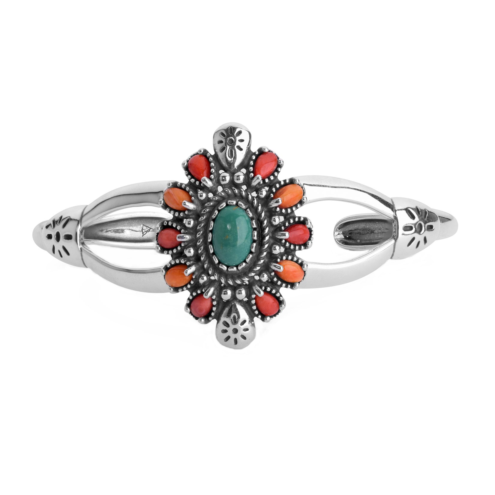 American West Sterling Silver, Green Turquoise, Red & Orange Spiny Oyster Cluster Cuff Bracelet