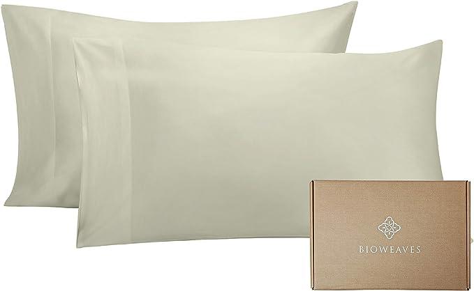 Bioweaves 100 Organic Cotton Pillow Cases 300 Thread Count Soft Sateen Weave Gots Certified Standard Queen Size Set Of 2 Sand Home Kitchen Amazon Com