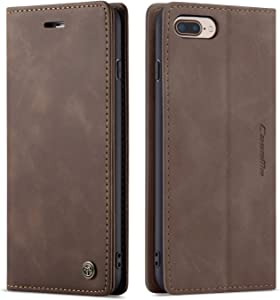QLTYPRI Case for iPhone 7 iPhone 8 iPhone SE 2020, Vintage PU Leather Wallet Case Card Slot Kickstand Magnetic Closure Shockproof Flip Folio Case Cover for iPhone 7 8 SE 2020 - Coffee Brown