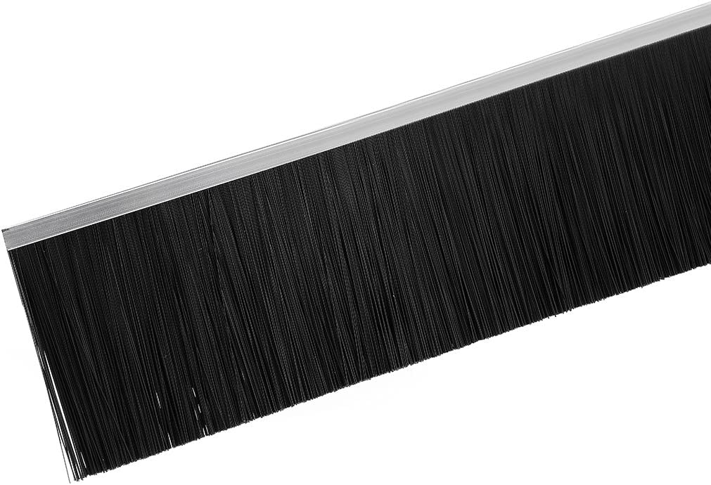 uxcell Door Bottom Sweep F-Shape Aluminum Alloy Base with 4.8-inch Black Nylon Brush 39-inch x 5.04-inch