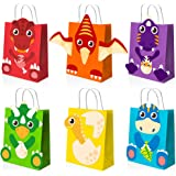 Mocoosy 18 Pack DIY Dinosaur Party Favor Gift Bags with Handles - Dinosaur Goodie Bags for Kids Birthday, Dino Candy Treat Ba