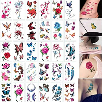 30 hojas 3D mariposa tatuajes temporales arte corporal pegatina ...
