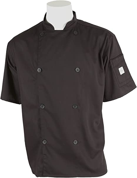 Mercer Culinary M61012WH4X Genesis Mens Short Sleeve Chef Jacket with Traditional Buttons White 4X-Large