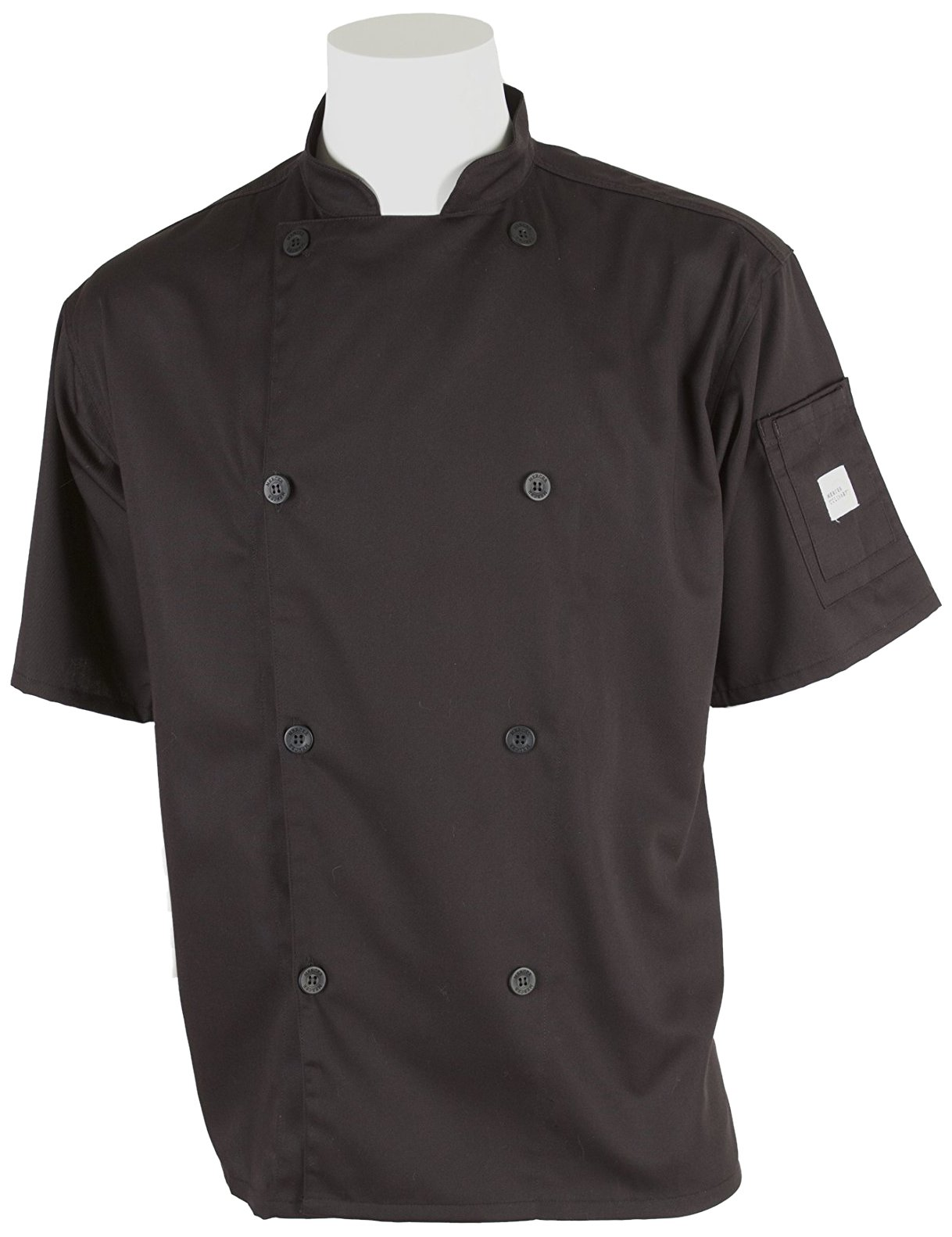 Mercer Culinary M61012BK4X Genesis Men's Short Sleeve Chef Jacket with Traditional Buttons, 4X-Large, Black by Mercer Culinary