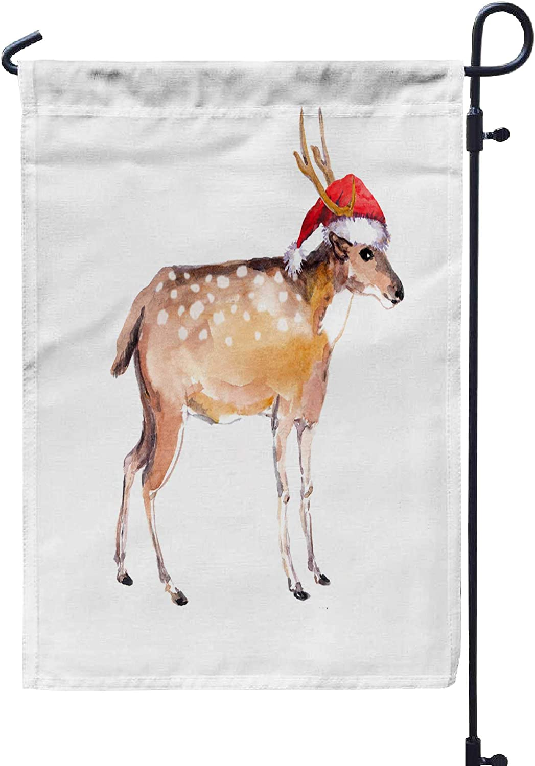 Bisead Garden Flag,Double Sided 12×18 Inch Spring Summer Outdoor Yard Decoration Cute New Year Deer in Red Hat Watercolor Christmas Animal,Gold Green
